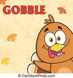 Happy Turkey Bird With Text