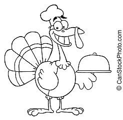 Happy Turkey Chef Serving A Platter