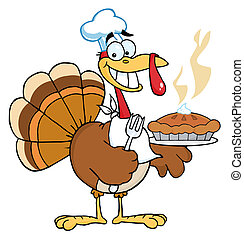 Happy Turkey Chef - Happy Thanksgiving Turkey Bird Holding A...