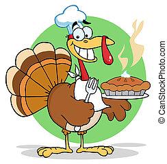 Happy turkey chef with pie