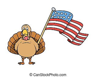 Happy Turkey Holding a USA Flag