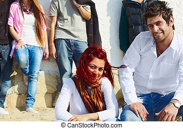 Happy Turkish friends on the beach.