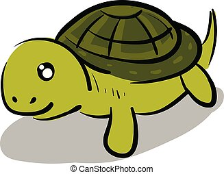 Happy turtle with a cute face illustration color vector on white background