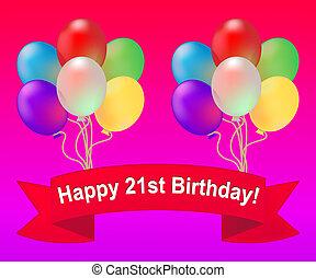 Happy Twenty First Birthday Celebration 3d Illustration