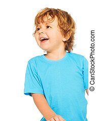 Happy two years old boy laughing standing isolated on white