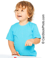 Happy two years old boy smiling, isolated on white