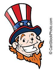 Happy Uncle Sam Cartoon Face