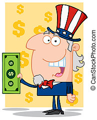 Happy Uncle Sam  Holding A Dollar