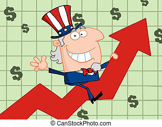 Happy Uncle Sam Riding Up On A Statistics Arrow