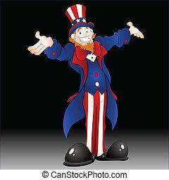 Happy Uncle Sam Vector Illustration - Drawing Art of Cartoon...