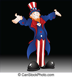 Happy Uncle Sam Vector Illustration - Drawing Art of Cartoon...