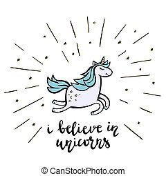 Happy Unicorn with lettering