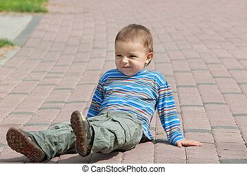 Happy urban toddler