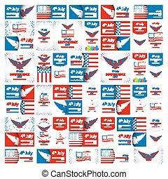 Happy USA Independence Day - Fourth of July - July 4th Vector Set