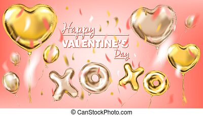 Happy Valentine and Pink Gold Foil Heart Shape Balloon, golden kiss and hug symbol