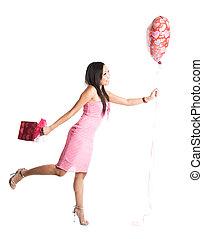 Happy valentine asian woman
