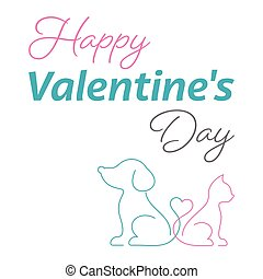 Happy valentine card cute cat and dog