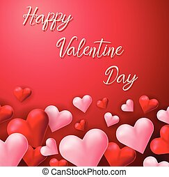 Happy valentine card template with pink and red hearts