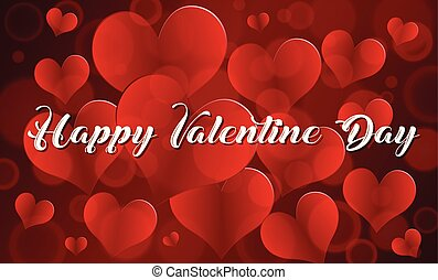 Happy valentine card template with red hearts
