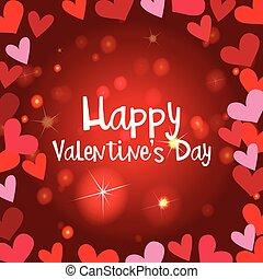 Happy valentine card template with shiny hearts
