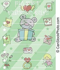 Happy Valentine Card with bear flower heart