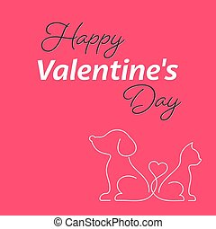 Happy valentine card with cat and dog