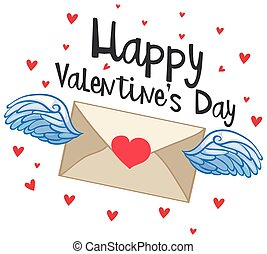 Happy valentine card with flying envelope