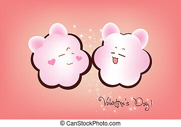 Happy valentine couple emotions