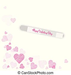 Happy Valentine Day Background Sketch Pink Heart Shapes On White Background