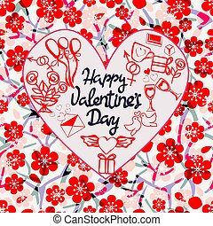 Happy Valentine day background with decorative Doodle  in the shape of a heart.