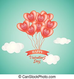 Happy Valentine day card, heart balloons in sky