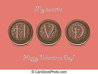 Happy Valentine Day. Chocolate cookies with graceful decor....
