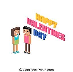 Happy Valentine Day Couple 3d Isometric