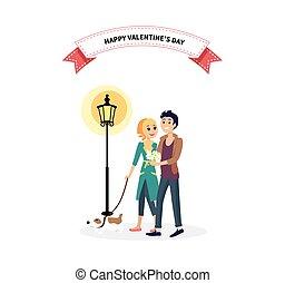 Happy Valentine Day Couple Walk with Dog