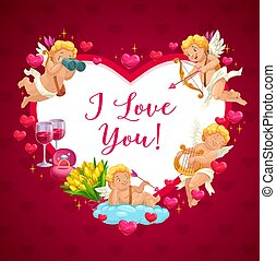 Happy Valentine day cupid angels heart frame