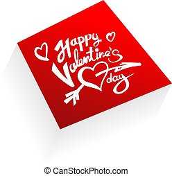 Happy Valentine Day Lettering Red Plate