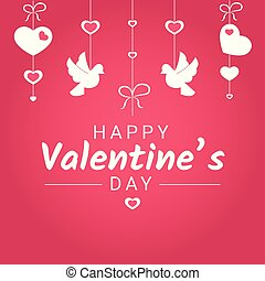 Happy Valentine Day or wedding congratulation banner with various love symbols hanging on ribbons.