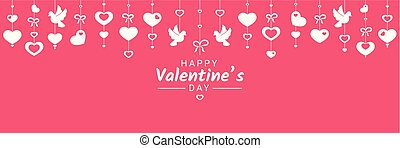 Happy Valentine Day or wedding horizontal congratulation banner with various love symbols hanging on ribbons.