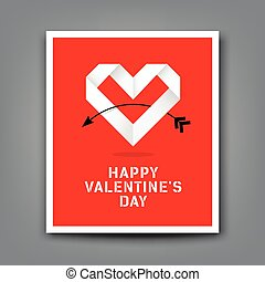 Happy valentine day origami heart paper background