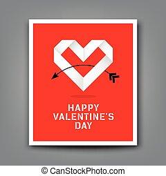 Happy valentine day origami heart paper background