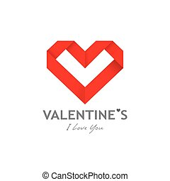 Happy valentine day origami heart paper design background