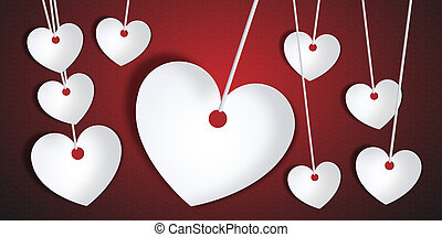 Happy Valentine Day - paper hearts shape on a red background