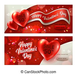 Happy Valentine Day Sale Horizontal Banner Set. Discount Offer Red White Heart Advertising Element Design. Romantic Promotion Poster or Love Card Template Collection 3d Vector Illustration