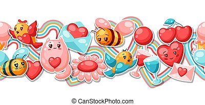 Happy Valentine Day seamless pattern. Kawaii illustration with love symbols.