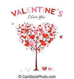 Happy Valentine Day Tree design, vector