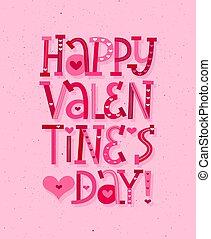 Happy Valentine Day vector fun cartoon lettering