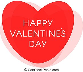 Happy Valentine Day vector postcard, love symbol, red heart with text on white background.