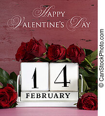 Happy Valentine Day vintage wood calendar for February 14 on red and pink vintage wood background with bouquet of red roses, vertical with sample text.