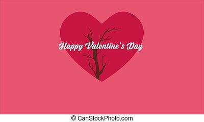 Happy Valentine day with animation love tree