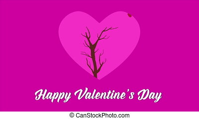 Happy Valentine day with animation love tree collection